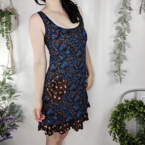 ANTHRO TRACY REESE silk wool tiered dress blue 462